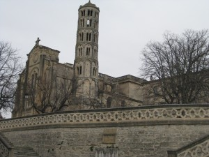 Cathedral tower in Uzes, Languedoc Rousillon, France