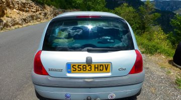 Renault Clio driving through France