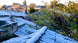 Lourmarin roof tops covered in snow December