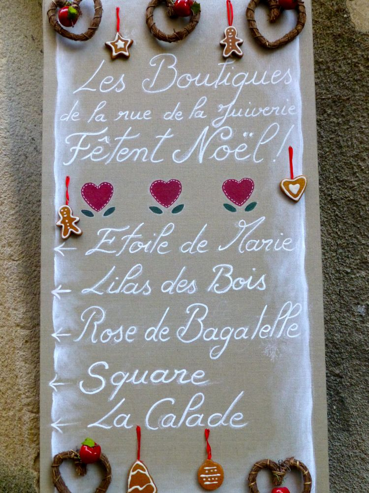French Christmas banner in Lourmarin, Provence, France