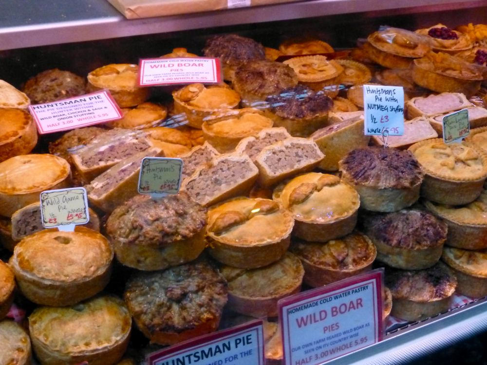 Home made pies at London's Borough Market, Christmas 2012