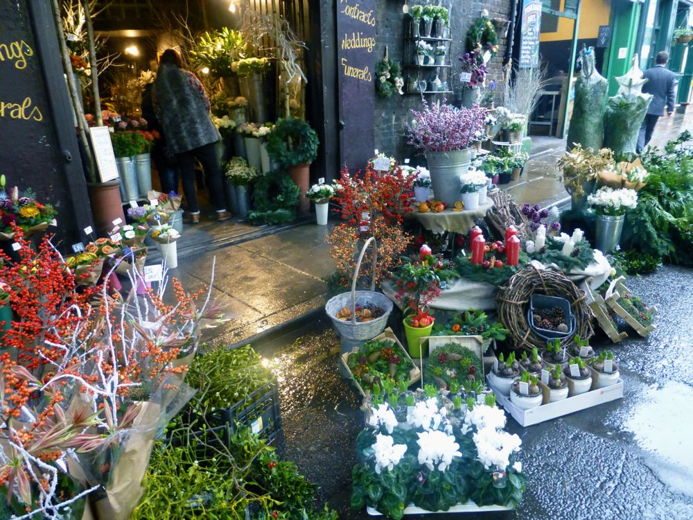 Florist at London's Borough Market,England, Christmas 2012
