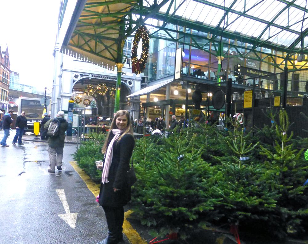 Christmas trees at London's Borough Market,Christmas 2012