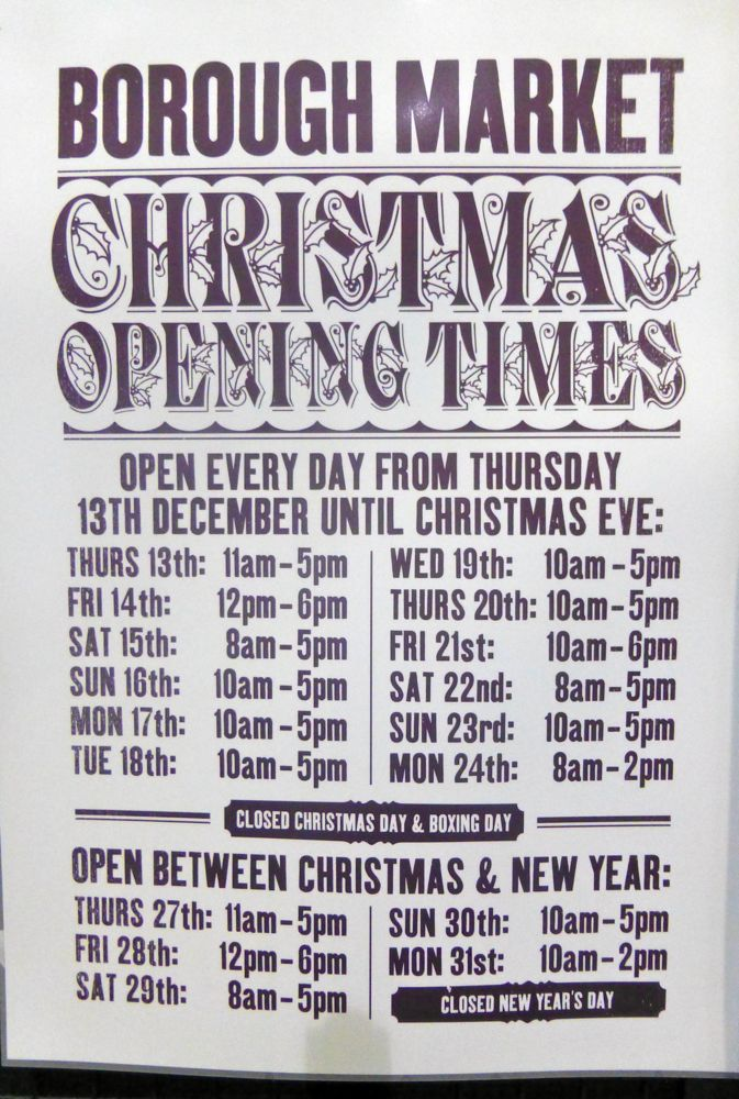 Borough Market opening times December 2012, London, England