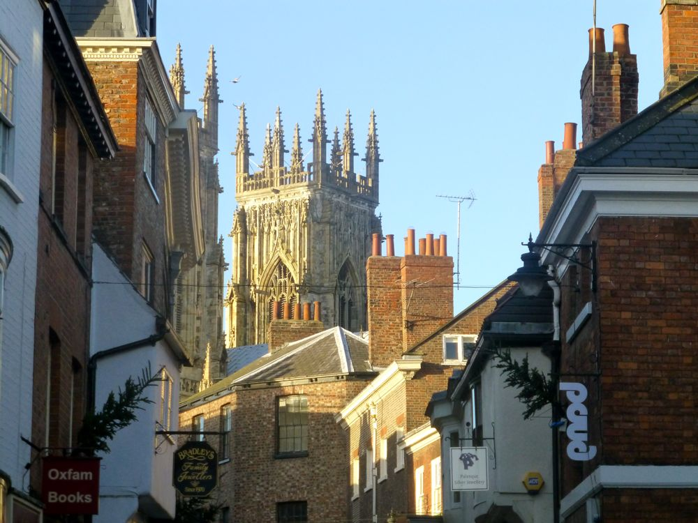 A view of York Minster from the streets in York, England