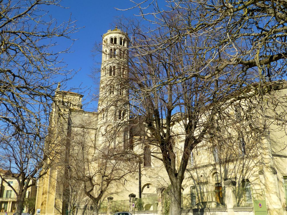 Church and tower is Uzes, Languedoc Rousillon, France