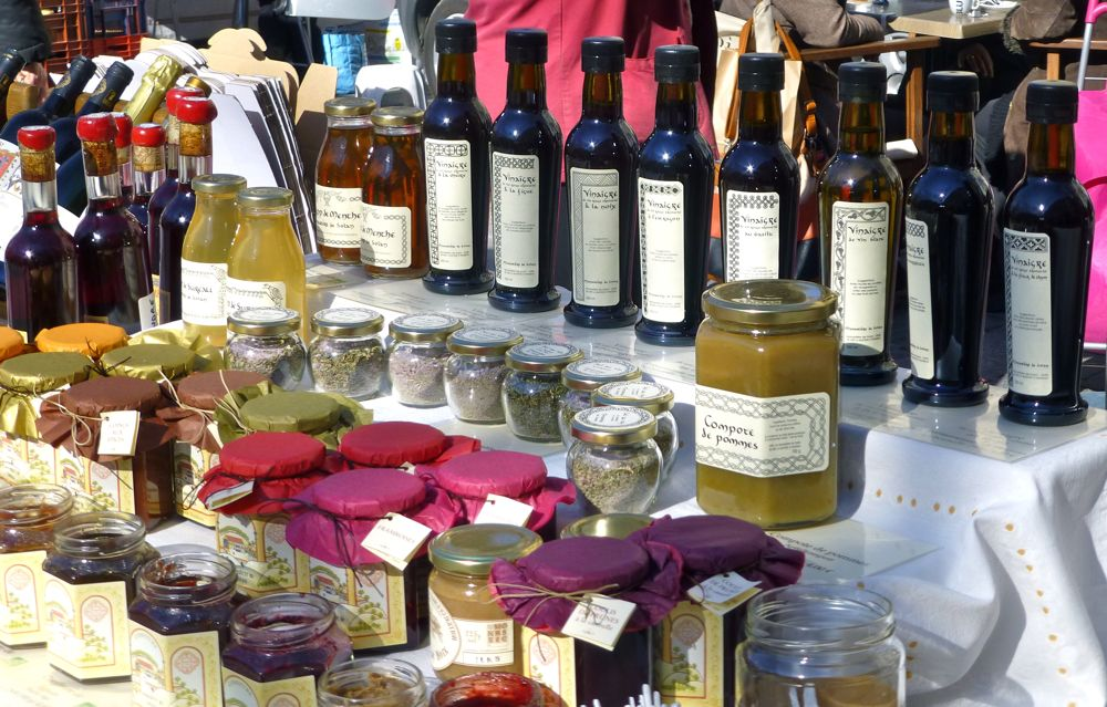 Place aux Herbes, Uzes, local wine and preserves at Wednesday market