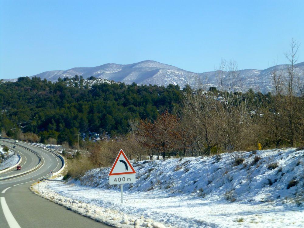 Snow enroute to Sisteron, Provence