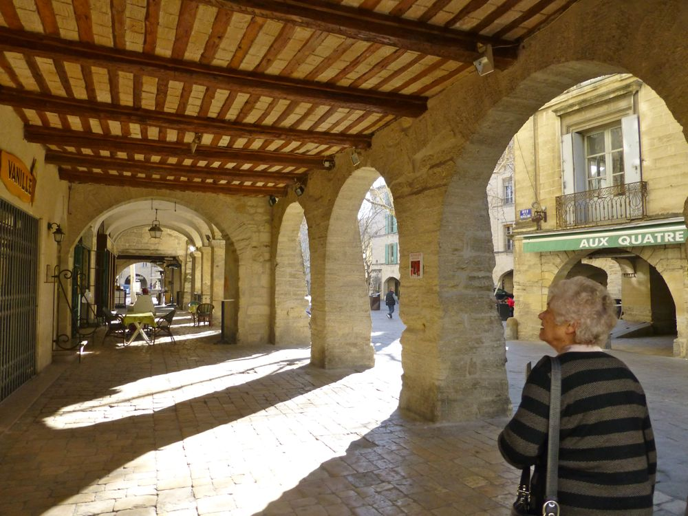 The arches of Place aux Herbes, Uzes,in February