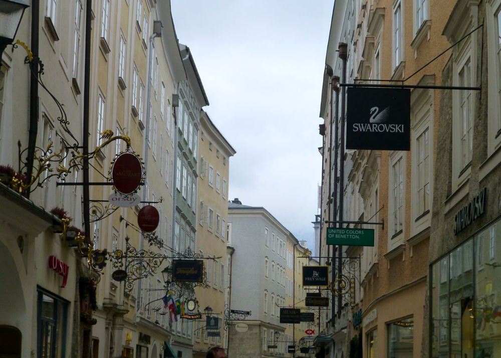 Guild Signs on Getreidegasse, the oldest street in Salzburg, Austria