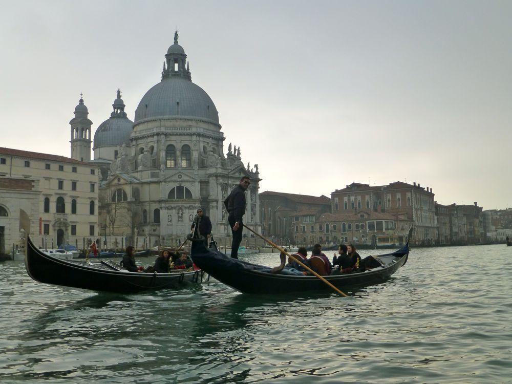 Santa Maria della Salute built un a bed of 17 000 wooden pylons from Gondola ride