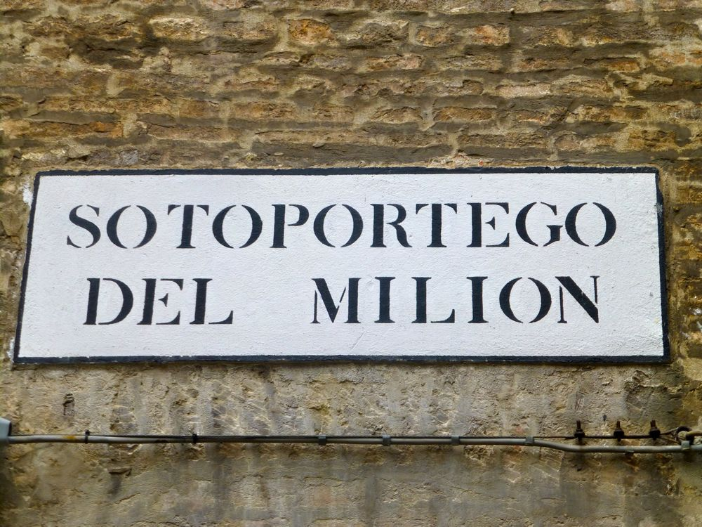 Square where Marco Polo lived names after his famous travel book II Milion