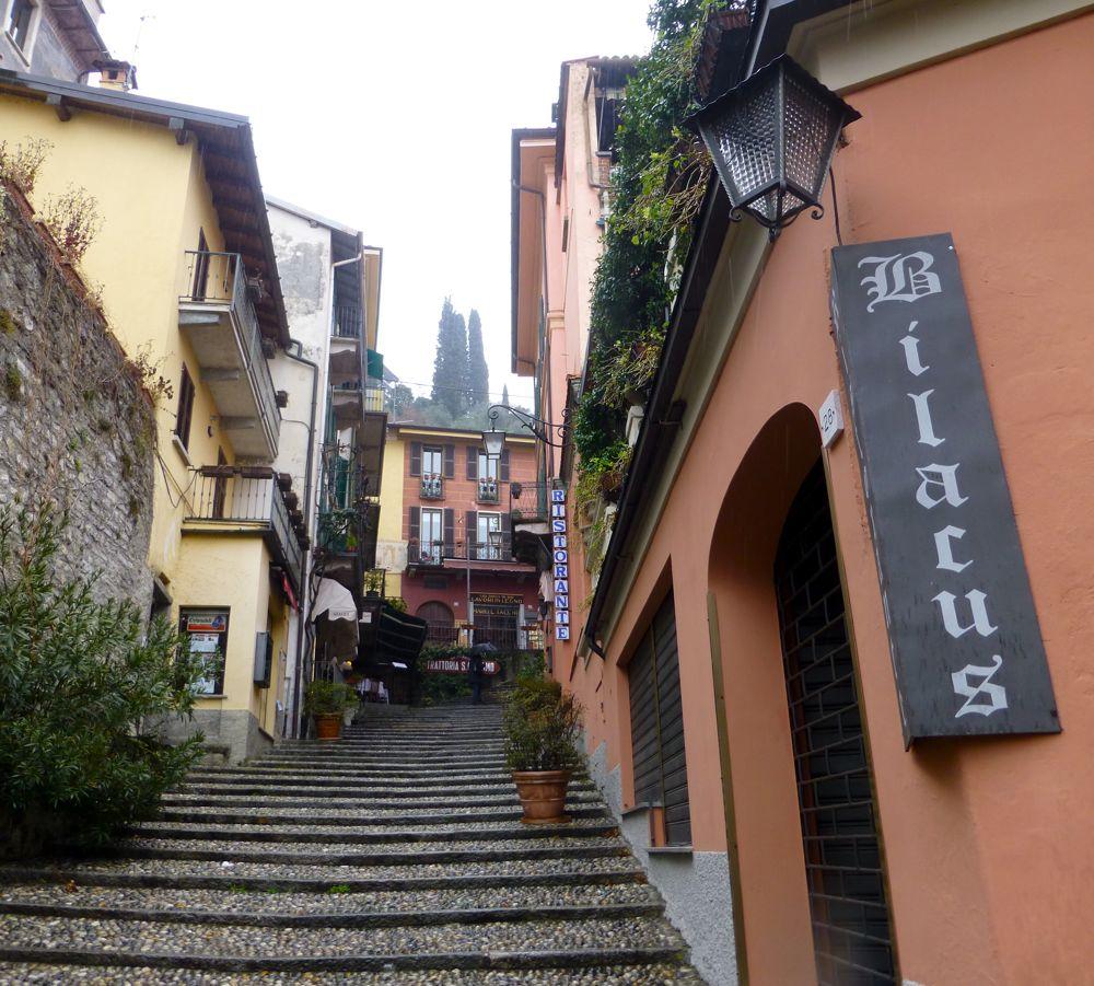 Bellagio street in Lake Como in the rain