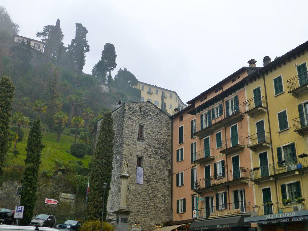 Piazza in Bellagio, Lake Como in the rain