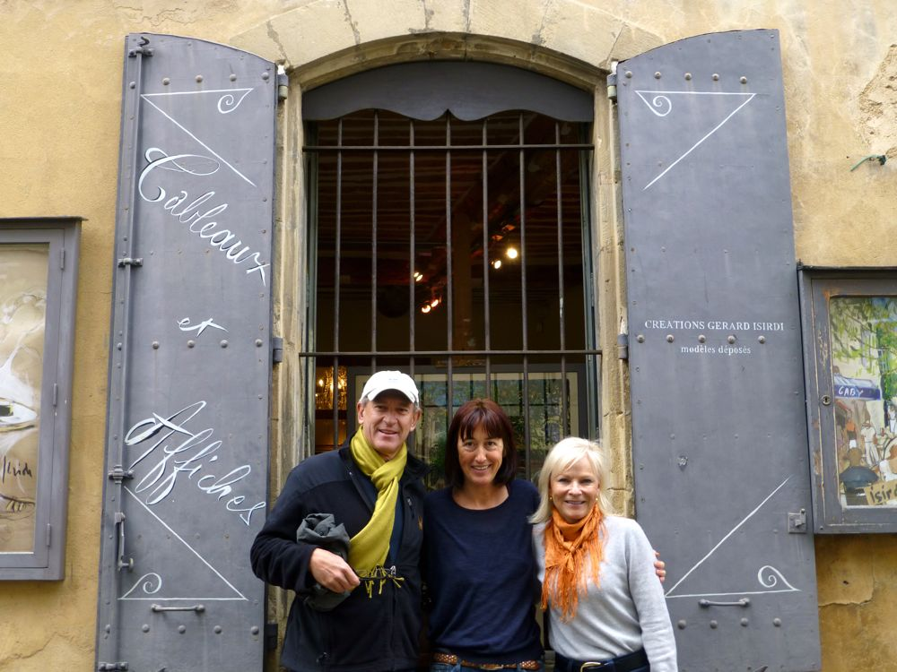 With Christine Isirdi, outside the Isirdi Gallery Lourmarin, Provence, France