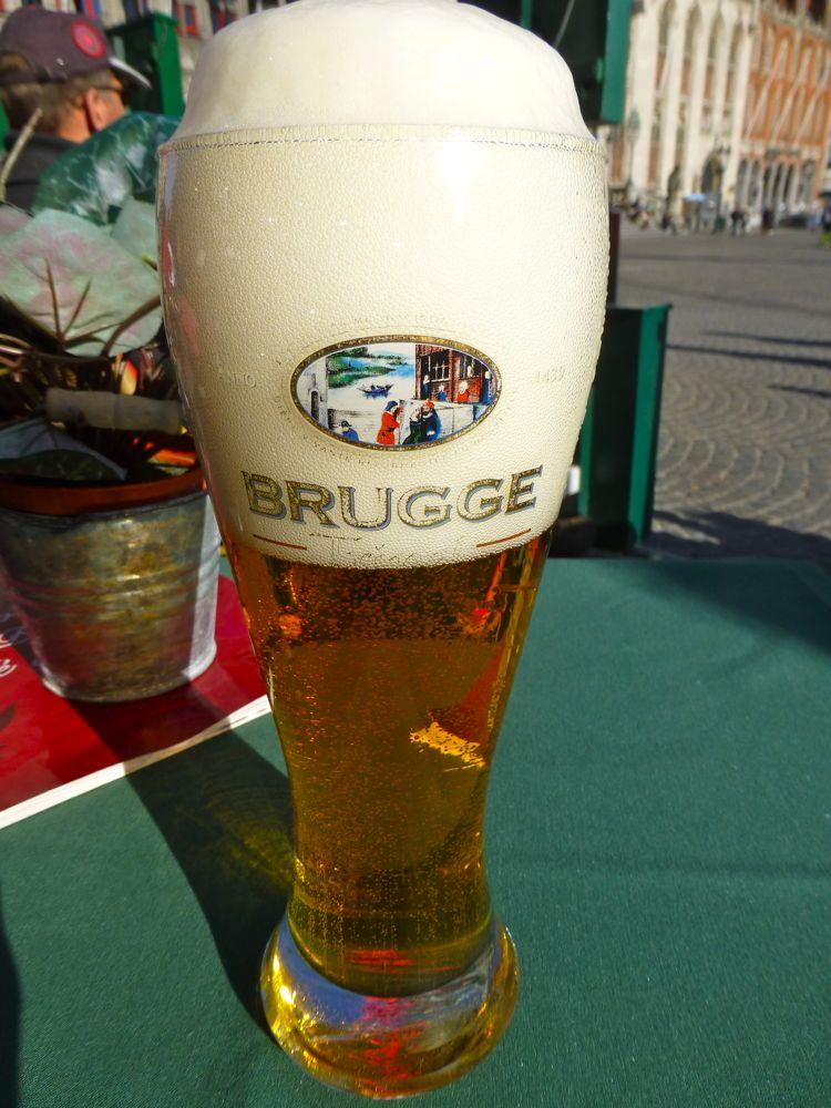 A Belgian beer in Bruges, Belgium