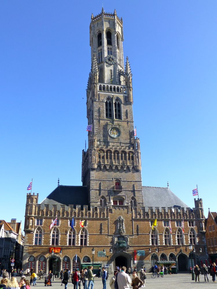 Bottertoren Tower, Belfry of Bruges in the central market, Belgium