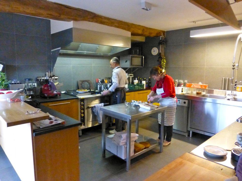 Preparing meals at Crot Foulot, Chambres d'Hôtes de Charme. Chalon-sur-Saone, Burgandy, France