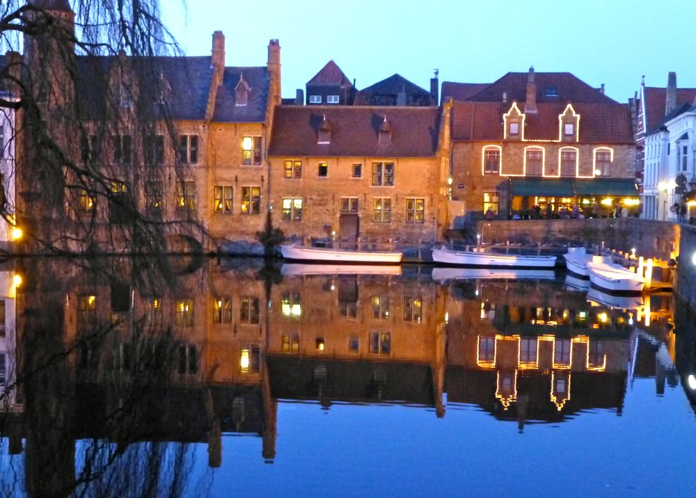 Reflections, in the canal, Brugges, Belgium