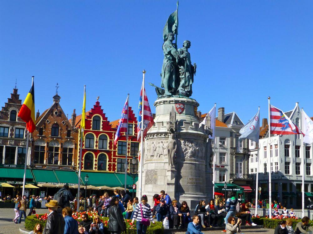 Statue of Jan Breydel and Pieter de Coninck in Grote Market, Bruges, Belgium