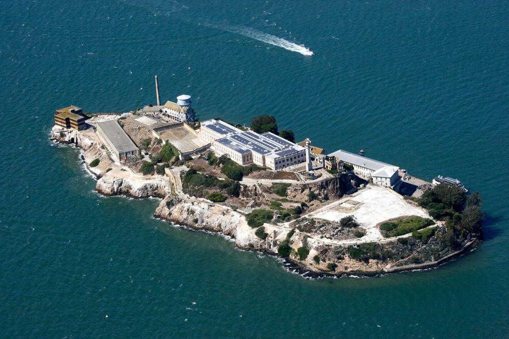 Above Alcatraz Island in San Francisco Bay