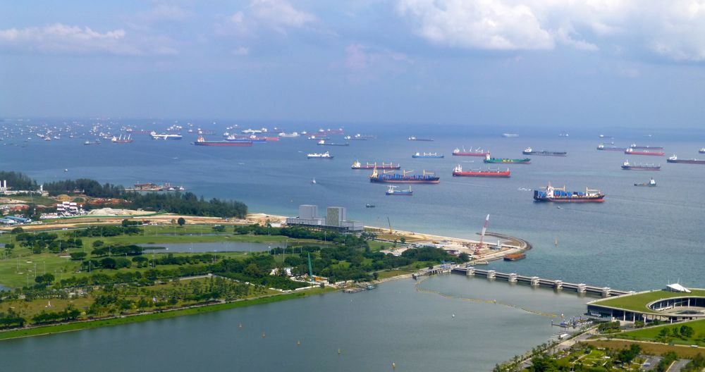 View of the Straits from Skypark at Marina Bay Sands Singapore