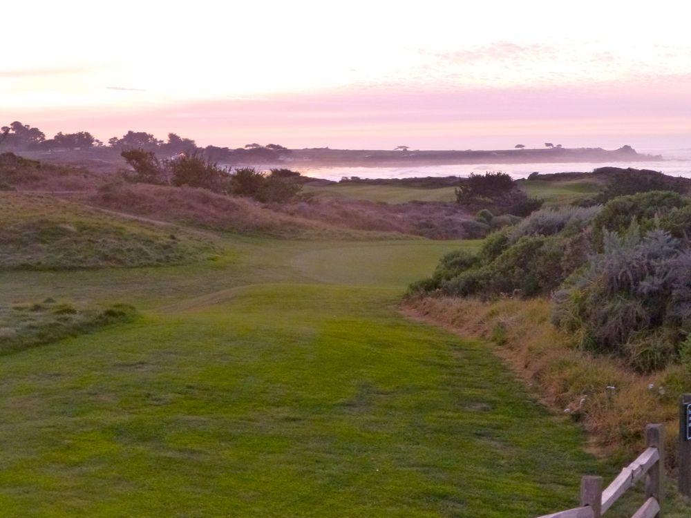At sunset Spanish Bay, 17 Mile Drie, near Carmel, California, USA