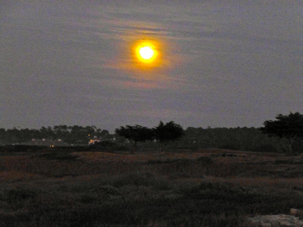 The moon at 17 Mile Drive, Carmel, California, USA