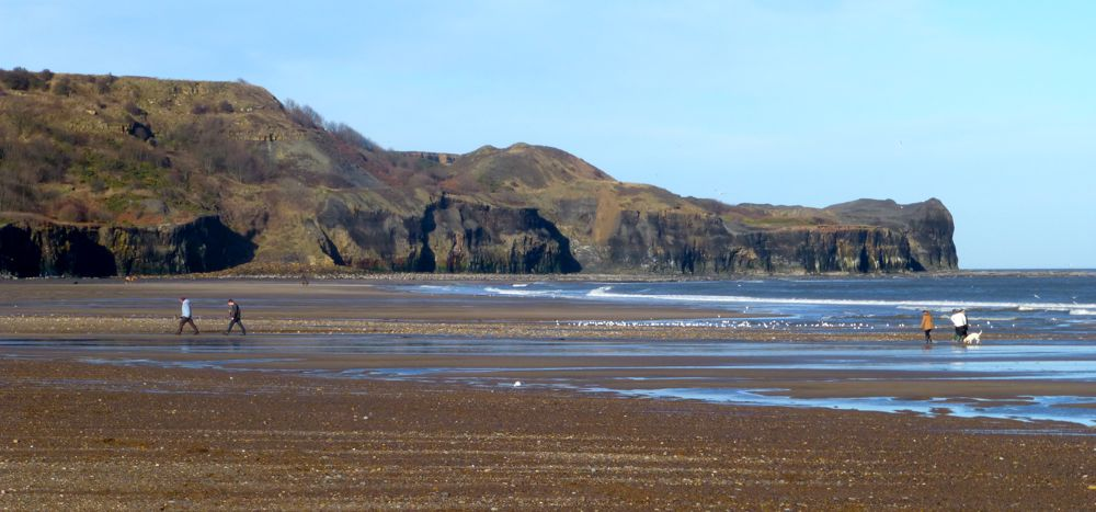 End of Sandsend beach, Whitby, North Yorkshire, UK