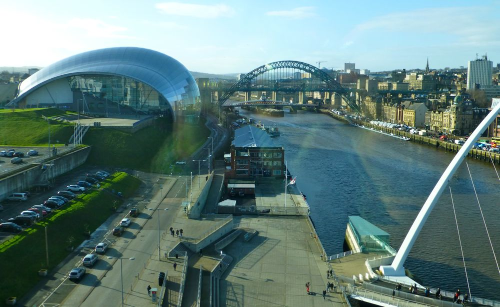 Newcastle view of the Sage Theatre and Tyne Bridge