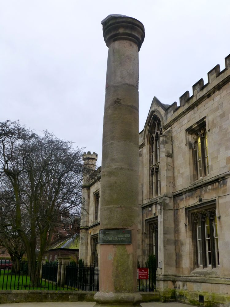 Roman Column in York, England discovered during church restoration