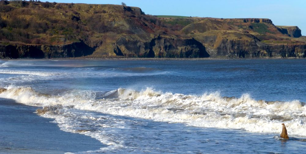 Sea at Sandsend beach, Whitby, North Yorkshire, UK