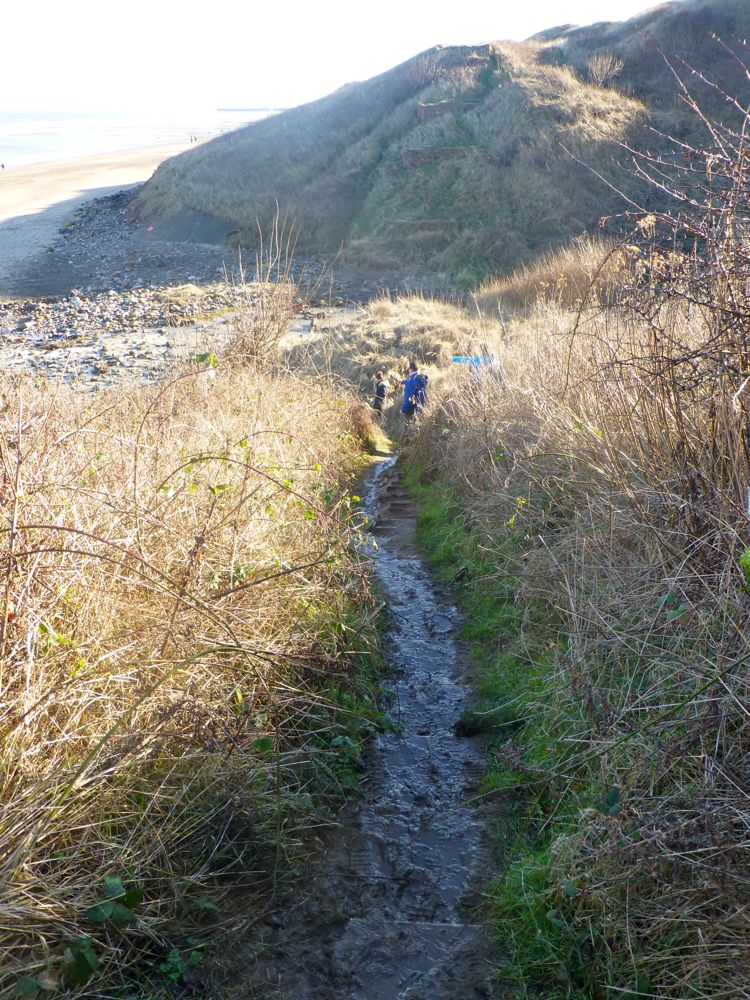 The path down to Sandsend beach, Whitby, North Yorkshire, UK