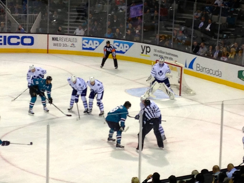 Sharks mid game against the Toronto Maple Leafs