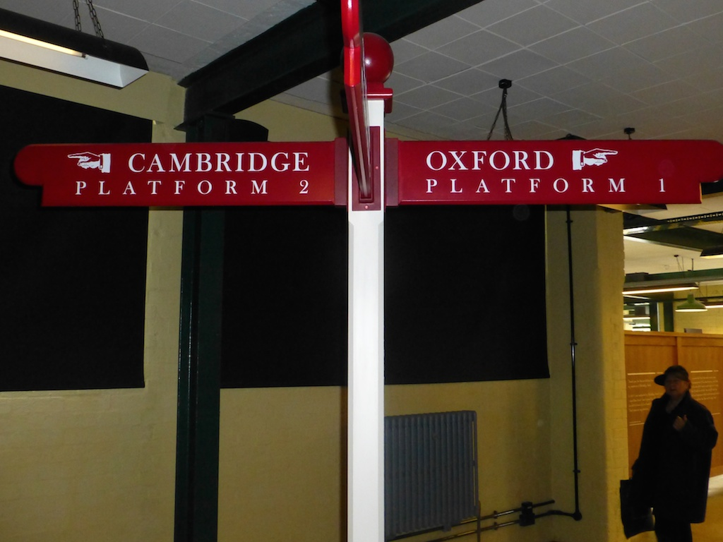 Bletchley Park Cambridge-Oxford sign, photo by Caroline Longstaffe