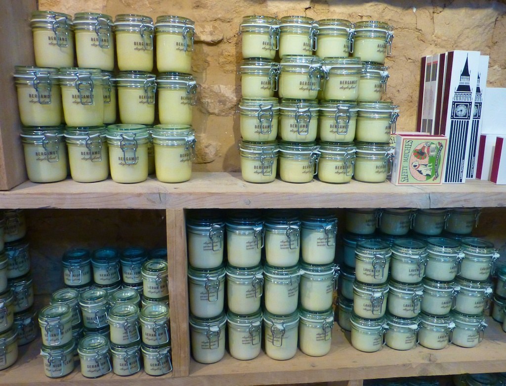 Candles for sale at Daylesford Barns in the Cotswolds