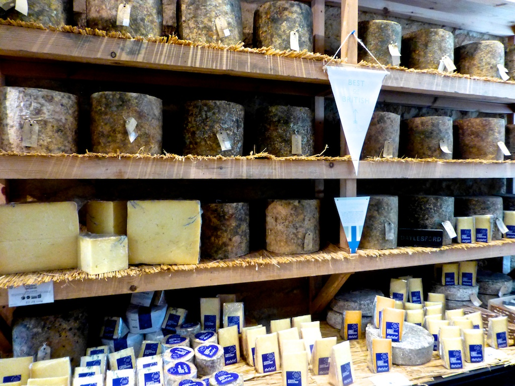 English cheese for sale at Daylesford Barns in the Cotswolds