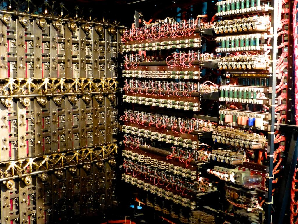 Workings of Colossus, world's first digital computer, Bletchley Park, England