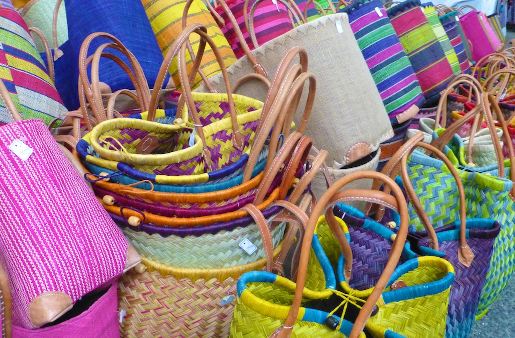 Baskets for sale in the Lourmarin market, Luberon, Provence, France