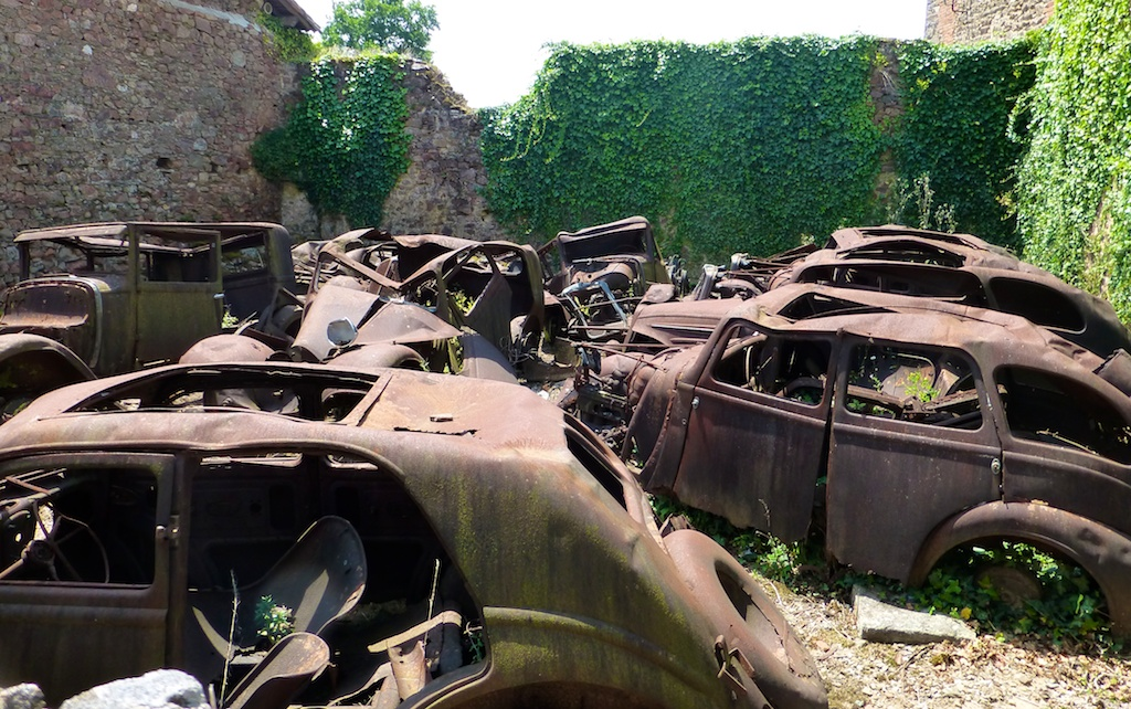 Cars from the tragedy at Oradour-sur-Glane, France