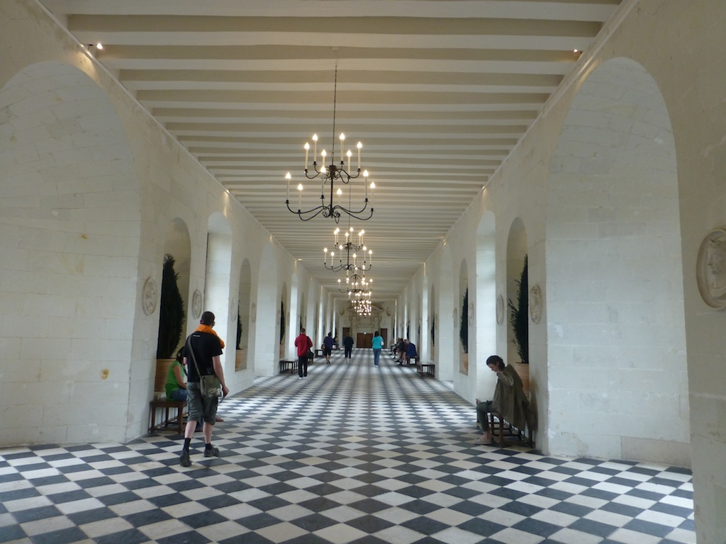Long hall at Chateau de Chenonceau, used as a hospital during Wold War 1