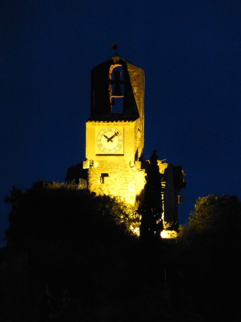 Lourmarin clock tower at night
