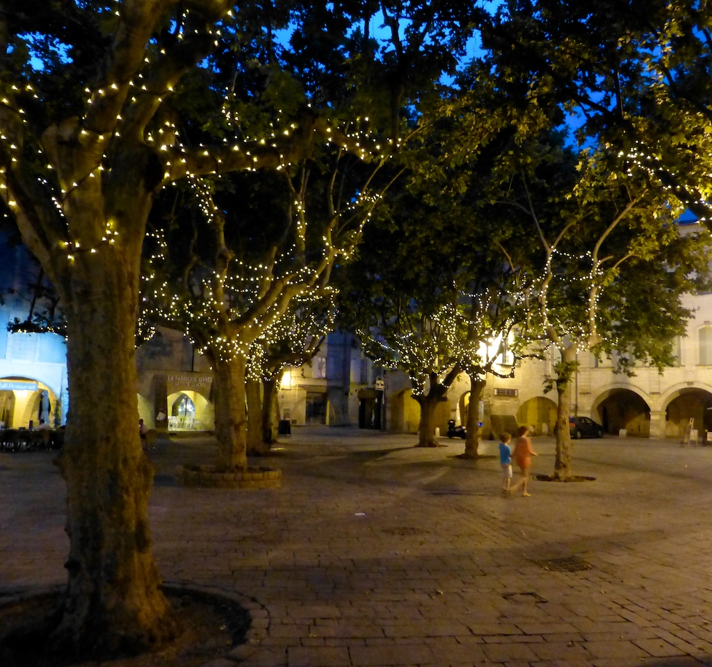 Place aux Herbes, Uzes at Night, Uzes, Languedoc Rousillon, France