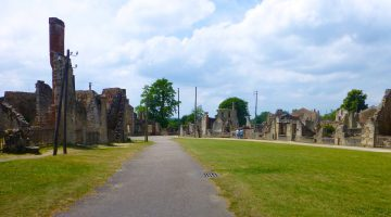 Square in Oradour-sur-glane, World War II village destroyed by the Nazis