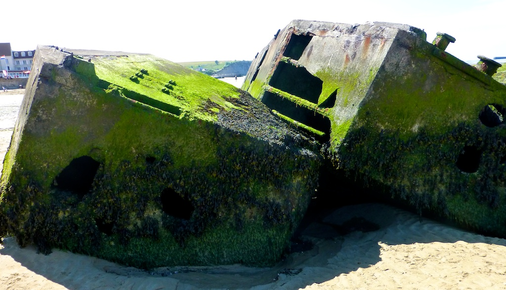Ruins of World War II Mulberry Harbour aPort Winston, Arromanches, Normandy