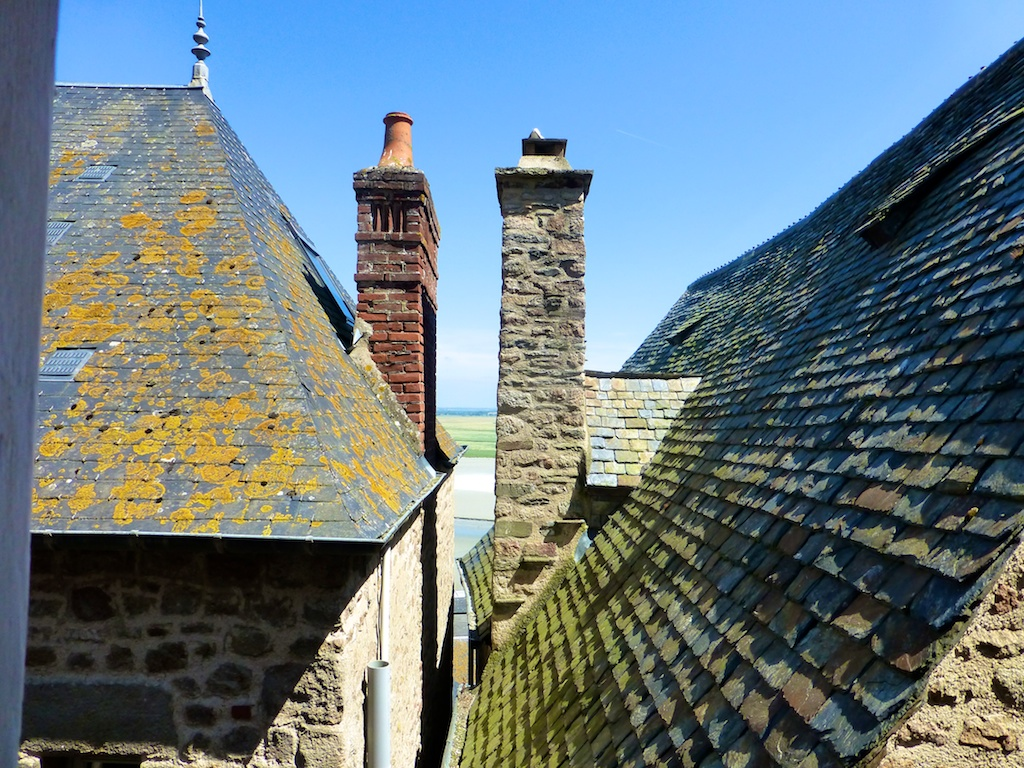 View from roof tops at Mont Saint Michel, France
