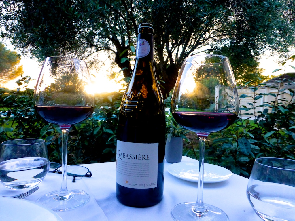Wine at dusk when dining at la-begude-saint-pierre hotel, Uzes Languedoc Rousillon, France