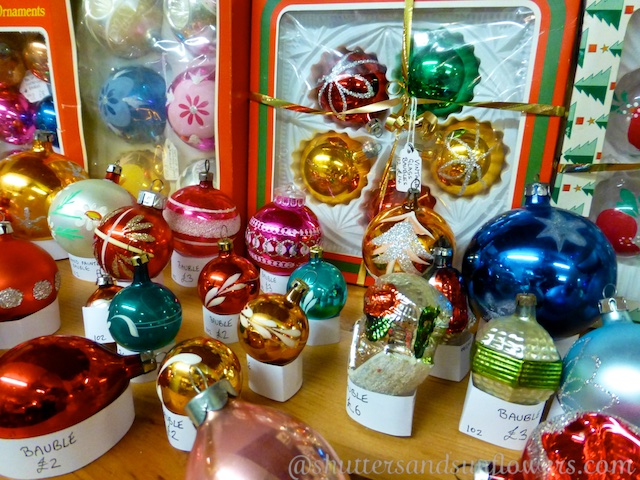 Antique Christmas baubles in the Circencester Antique Center