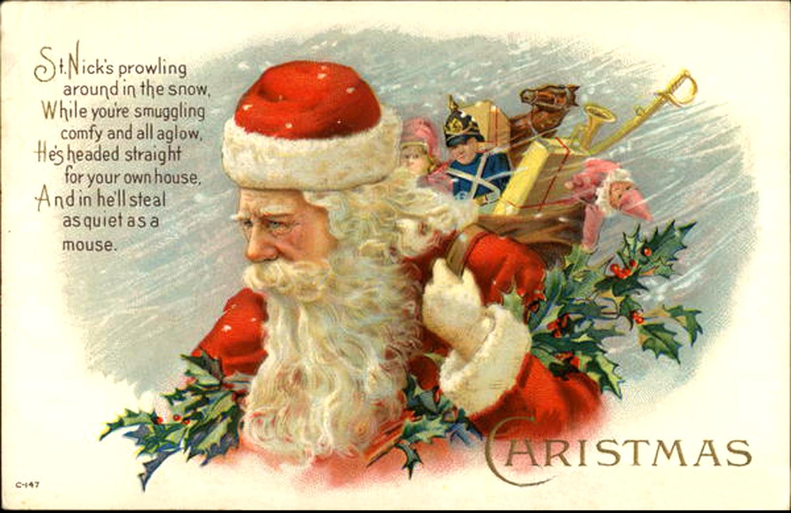 Santa, filling stockings on Christmas Eve night