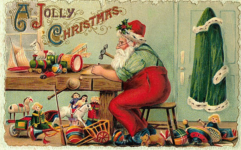 Santa making Christmas presents